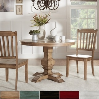 Eleanor Oak Round Solid Wood Top 3-piece Slat Back Dining Set by TRIBECCA HOME