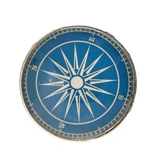 Nautical Compass Glass Knobs, Drawer Pulls - Pack of 6