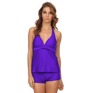 Women's Purple Nylon and Spandex Two-piece Halter Tankini with Boyshorts