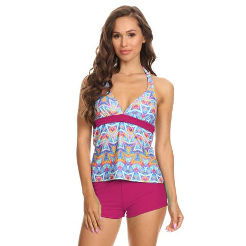 Women's Pink Nylon/Spandex Ikat Two-Piece Halter Tankini with Boyshorts