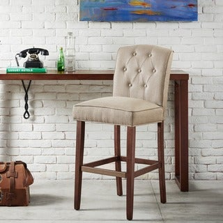 Madison Park Misha Tan Tufted 30-Inch Bar Stool