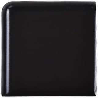 SomerTile 1.875x1.875-inch Victorian Matte Black Porcelain Bullnose Corner Wall Trim Tile