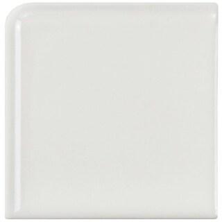 SomerTile 1.875x1.875-inch Victorian Glossy White Porcelain Bullnose Corner Wall Trim Tile