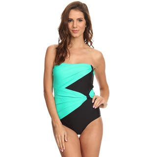Dippin' Daisy's Black Mint Draped Overlay Strapless Bandeau One Piece|https://ak1.ostkcdn.com/images/products/13840948/P20484647.jpg?impolicy=medium