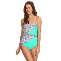 Famous Maker Mint Ikat Draped Overlay Strapless Bandeau One Piece