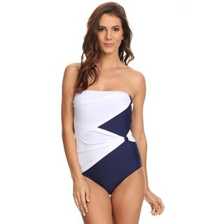 Famous Maker Navy White Draped Overlay Strapless Bandeau One-piece Swimsuit