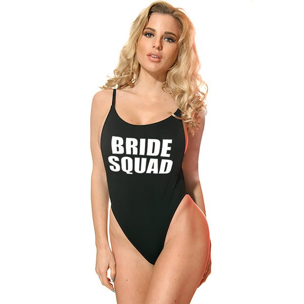 c4dfe509ed9 Shop Famous Maker Women s Bride Squad Black High-cut Vintage 1-piece  Swimsuit - On Sale - Free Shipping On Orders Over  45 - Overstock - 13840971
