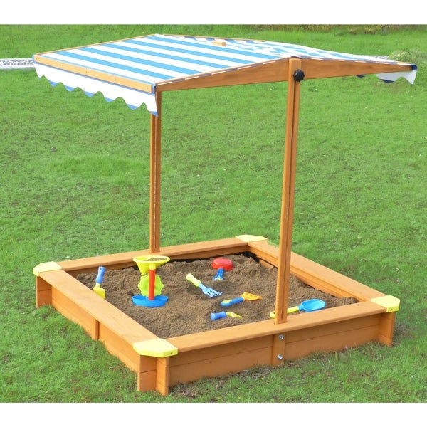 Merry Products Blue And White Canadian Hemlock Sandbox With Canopy by Merry Products
