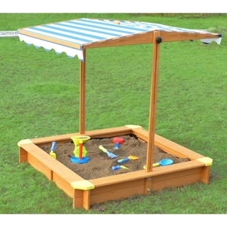 Merry Products Blue and White Canadian Hemlock Sandbox With Canopy