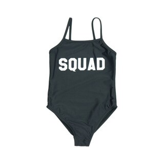 Dippin' Daisy's Squad Girls' Black Nylon and Spandex One-piece Swimsuit