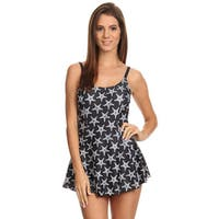 Famous Maker White and Black Nylon and Spandex Seastar 1-piece Swimdress