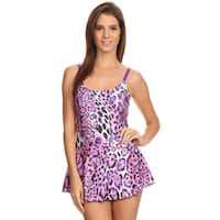 Famous Maker Pink Nylon and Spandex Jaguar-print One-piece Swimdress