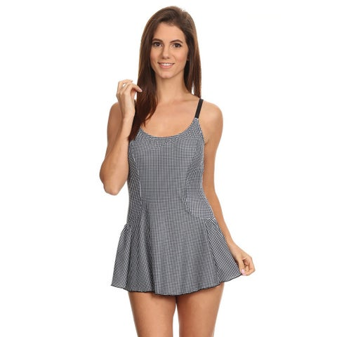 Famous Maker Black Nylon and Spandex Gingham One-piece Swimdress