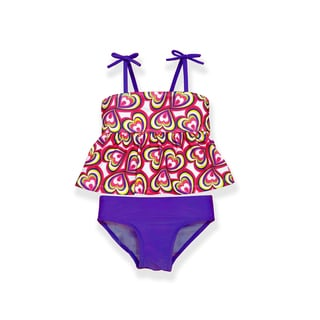 Jump'N Splash Girls' Purple Heart Graphic Print Tankini Set