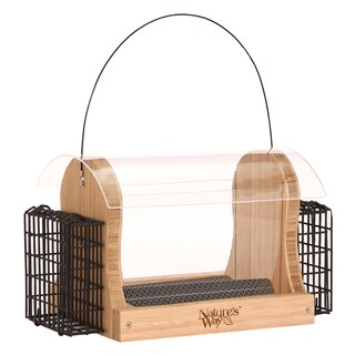 Nature's Way 4 Quart Bamboo Hopper Feeder With 2 Suet Cages