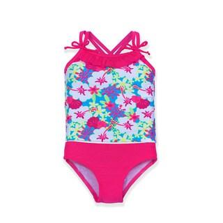 Jump'N Splash Small Girls Polyester and Spandex Hibiscus Tankini Set
