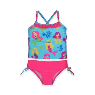 Jump'N Splash Girls' Mermaid Multicolor Spandex Small Tankini Set