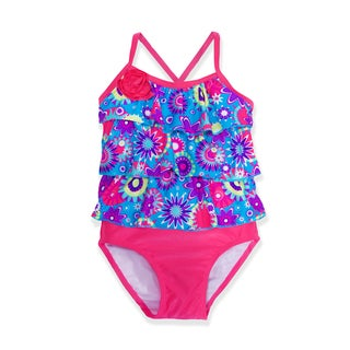 Jump'N Splash Small Girls' Flower Power Ruffle Tankini Set