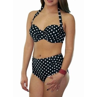 CaCelin Missy Black and White Polka-dot Retro High-waist Bikini Set