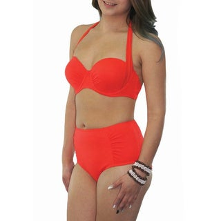CaCelin Women's Orange Nylon and Spandex High-waisted Bikini Set