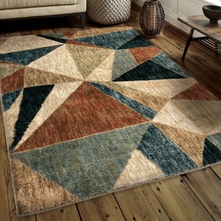 Carolina Weavers Comfy and Cozy Modern Boundaries Collection Shattered Panel Beige Shag Area Rug (5'3 x 7'6)