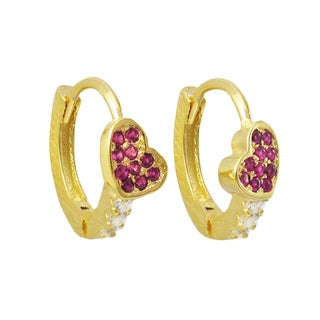 Luxiro Gold Finish Sterling Silver Cubic Zirconia Heart Children's Hoop Earrings