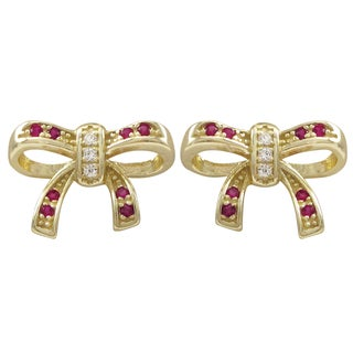Luxiro Gold Finish Sterling Silver Ruby Gemstone Bow Children's Earrings