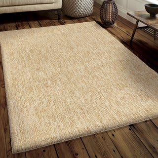 Carolina Weavers Soft Plush Collection Back to Basics Tan Shag Area Rug (5'3 x 7'6)