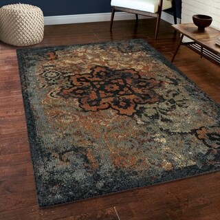 "Carolina Weavers Soft Plush Collection Rustic Trunk Blue Shag Area Rug (5'3 x 7'6) - 5'3"" x 7'6"""