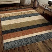 Carolina Weavers Soft Plush Collection Pushing Layers Multi Shag Area Rug (5'3 x 7'6)