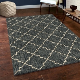 Carolina Weavers Soft Plush Collection Connected Grooves Blue Shag Area Rug (5'3 x 7'6)