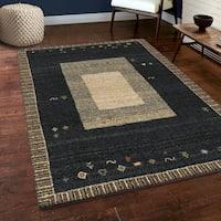 Carolina Weavers Soft Plush Collection Thread Border Dark Blue Shag Area Rug (7'10 x 10'10)