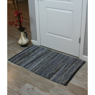 Denim Chindi Blue Cotton Accent Rug (1'8 x 2'8)