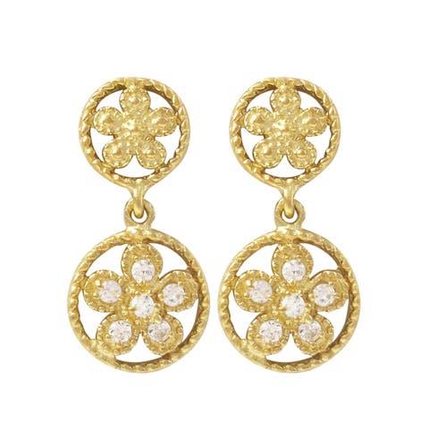 Luxiro Gold Finish Sterling Silver Cubic Zirconia Flower Children's Dangle Earrings