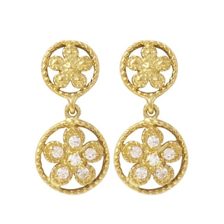 Luxiro Gold Finish Sterling Silver Cubic Zirconia Flower Children's Dangle Earrings
