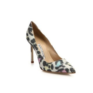 Manolo Blahnik Leopard Point-Toe Heels