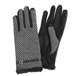 Isotoner Women's Black Polyester Touchscreen Checkerboard Gloves with Belt Detail