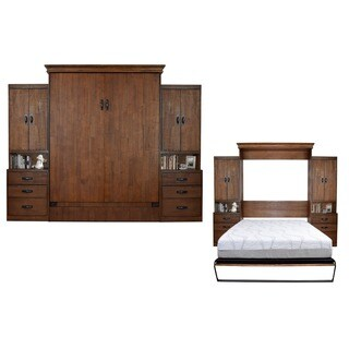Saw Mill Reclaimed Brown Queen-Size Murphy Bed with 2 Pier Cabinets