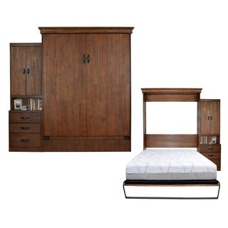 Saw Mill Reclaimed Brown Queen-Size Murphy Bed with One Pier Cabinet