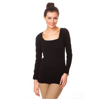 Soho Junior Square Neck Textured Long Sleeve Top One Size in Brown (As Is Item)