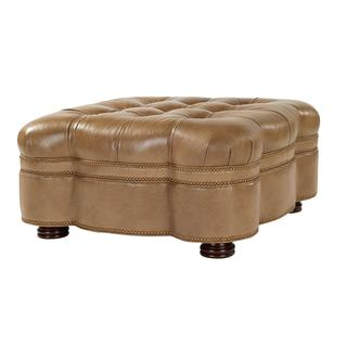Eldorado Tan Tufted Leather Ottoman