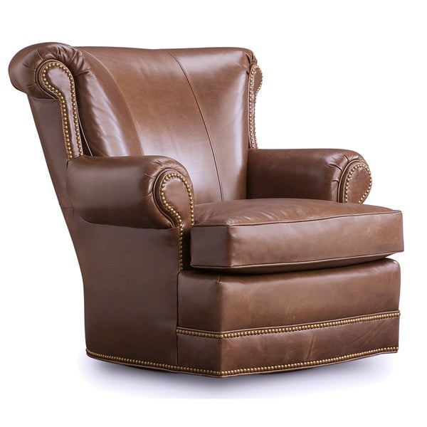 shop houston olive brown leather swivel chair free shipping today rh overstock com