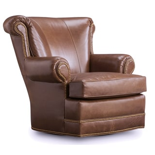 Houston Olive Brown Leather Swivel Chair