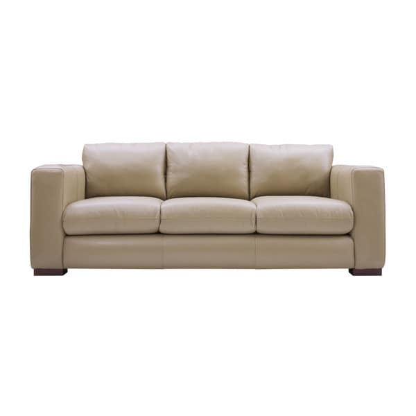 Dania 86 inch beige leather sofa free shipping today for Sofa bed 65 inches