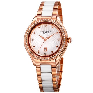 Akribos XXIV Women's Quartz Diamond Oyster Shell Pattern Rose-Tone Bracelet Watch