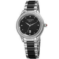 Akribos XXIV Women's Quartz Diamond Oyster Shell Pattern Silver-Tone Bracelet Watch