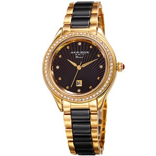 Akribos XXIV Women's Quartz Diamond Oyster Shell Pattern Gold-Tone/Black Bracelet Watch