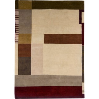 Mandara Hand-knotted Contemporary Abstract Pattern Rug (9'x12')