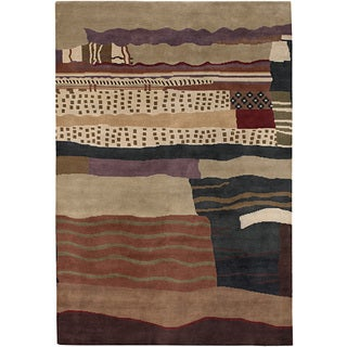 Mandara Hand-knotted Contemporary Abstract Pattern Rug (8 ft. 10 in. x 11 ft. 9 in. )