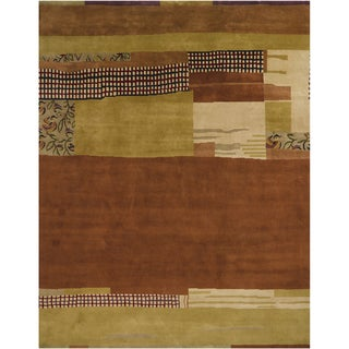 Mandara Hand-knotted Contemporary Abstract Pattern Rug (8 ft. 10 in. x 12 ft. 2 in. )